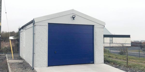 Blue Concrete Garage