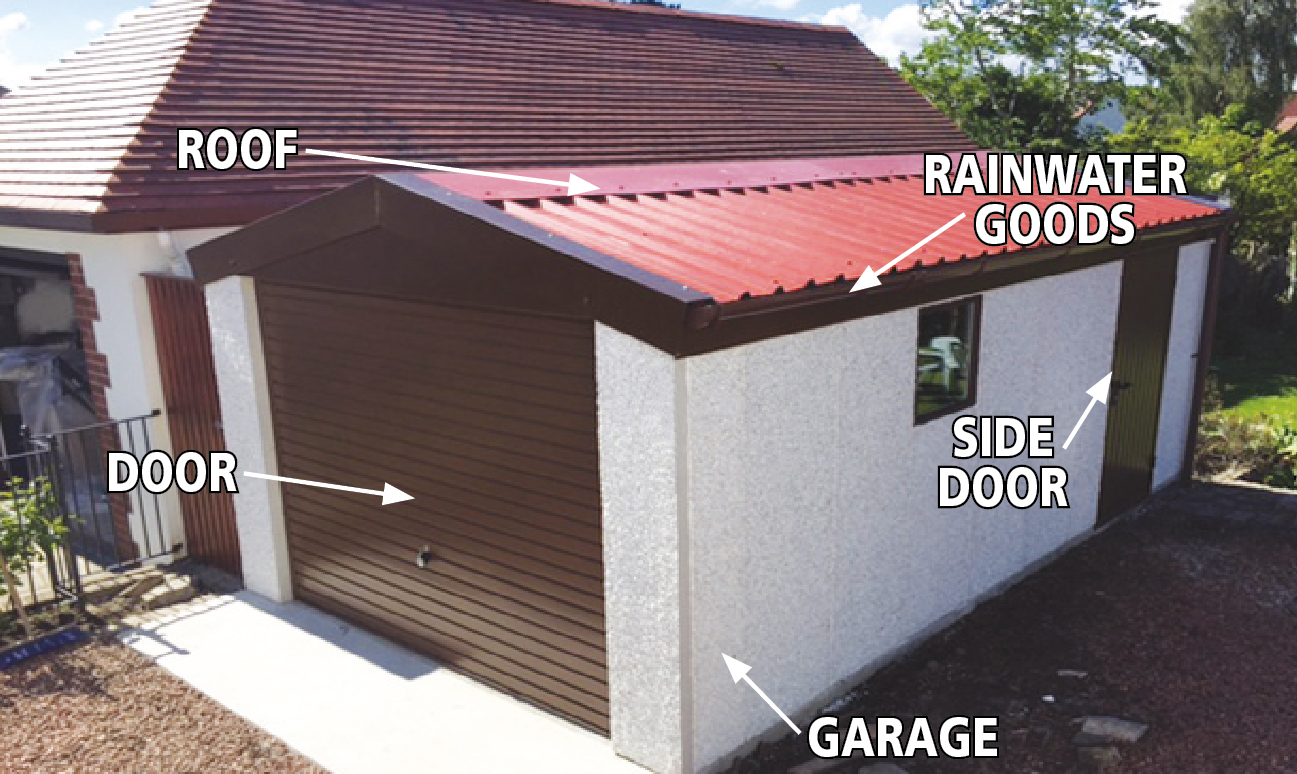 Annotated Concrete Garage